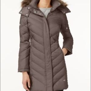 KENNETH COLE REACTION HOODED FAUX-FUR DOWN COAT